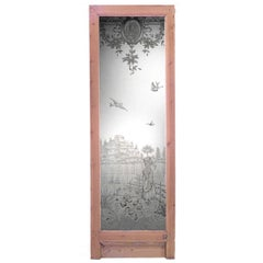 Turn of the Century French Louis XVI Style Etched Glass & Stripped Pine Door