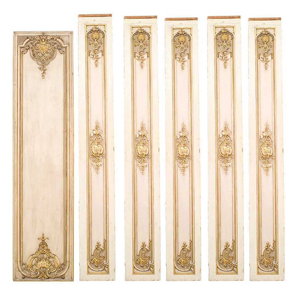 Set Of Six French Louis Xv Style White And Gold Painted