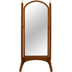 Art Deco Amboyna Cheval Mirror