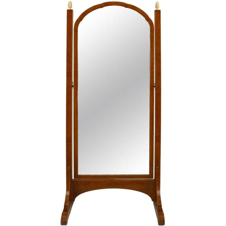 Art Deco Amboyna Cheval Mirror