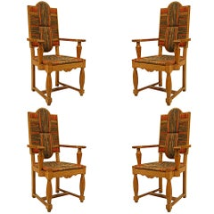 Two Pairs of French 1940s Oak and Sea Grass Arm Chairs