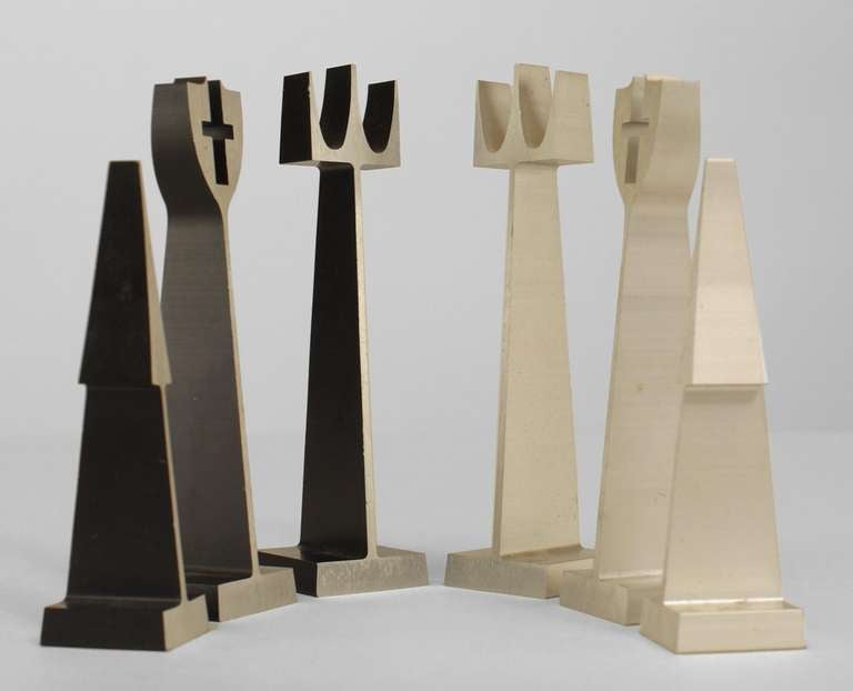 Mid Century Modern Extruded Aluminum Chess Set By Alcoa At
