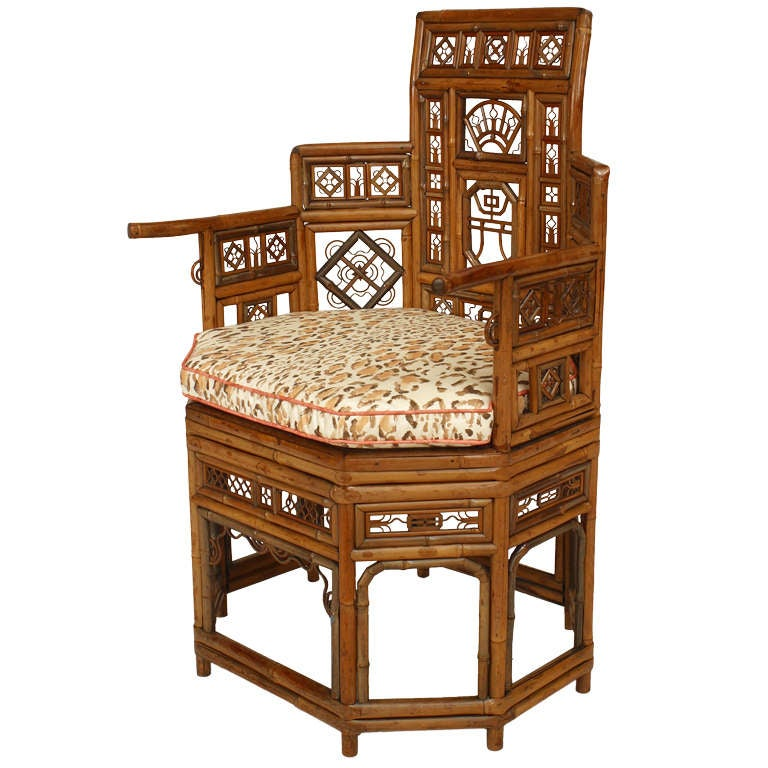 English Regency Bamboo Round Back Chair 1