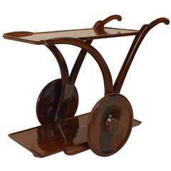 Italian 1940s Solid Rosewood Bar Cart