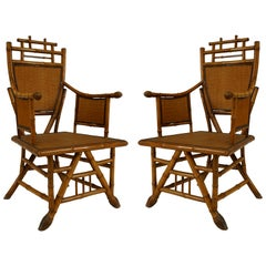 Pair of English Victorian Bamboo Shield-Back Armchairs