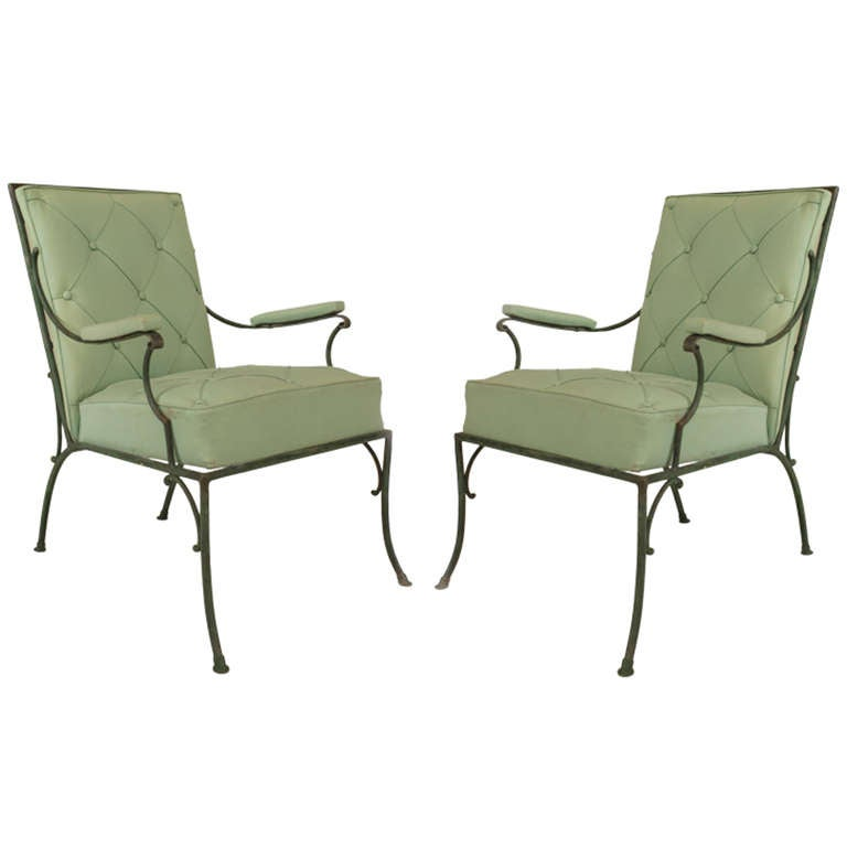 Pair of fine french s green painted iron arm chairs