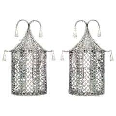English Regency Style Crystal Pagoda Sconces