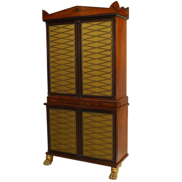 English Regency Mahogany and Brass Cabinet