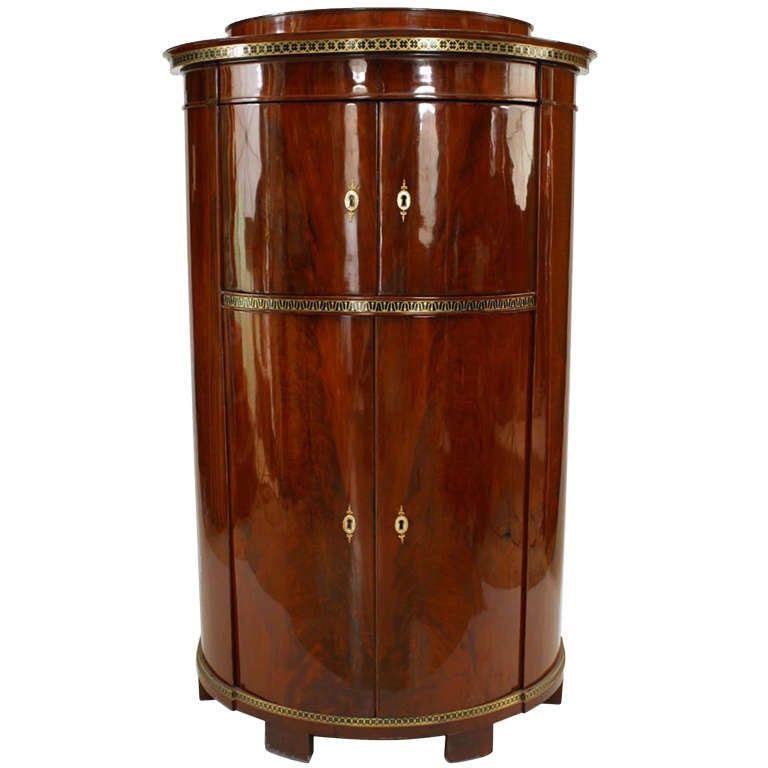 Neoclassical Russian Brass Inlaid And Mahogany Demilune Cabinet For Sale