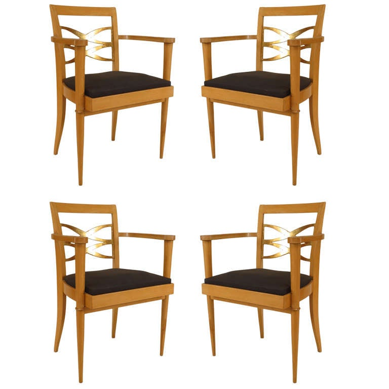 Set of Four French 1940s Sycamore Arm Chairs Attr. to Batistin Spade