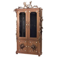 19th Century Rustic Continental Oak and Horn Bookcase