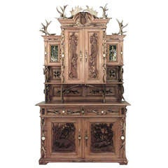 Monumental 19th c. Rustic German Oak Hutch