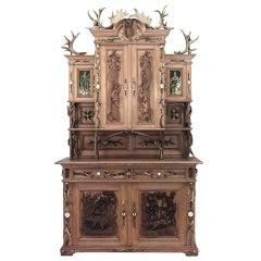 Monumental 19th c. Rustic German Oak Hutch