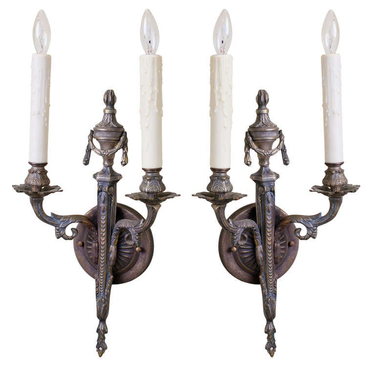 Pair French Two-Arm Empire-Style Bronze Sconces with Urn and Swag Detail For Sale