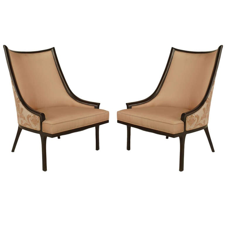 Pair Of American Mid Century Ebonized Chairs For