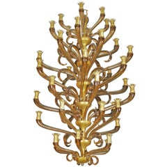 Murano Amber Glass Tiered Chandelier by Archimede Seguso