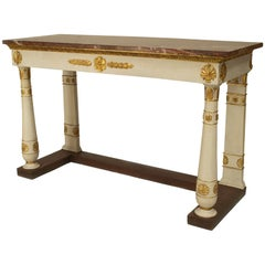 Italian Neoclassical Gilt Trimmed Marble Top Console, circa 1810