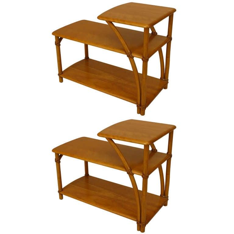 Pair of American Art Moderne End Tables by Heywood-Wakefield