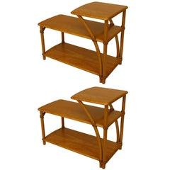 Pair of Haywood Wakefield Art Moderne 2-Tier Maple End Tables