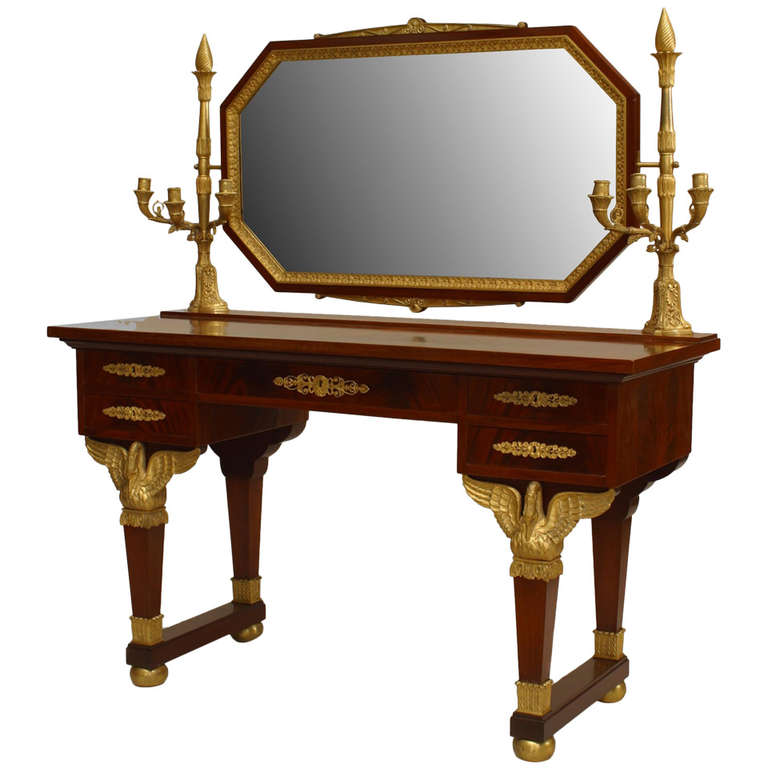19th c. French Empire Gilt Bronze and Mahogany Dressing Table For Sale