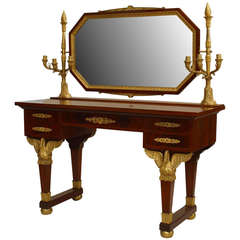 19th c. French Empire Gilt Bronze and Mahogany Dressing Table