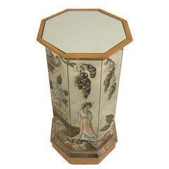 1940s French Chinoiserie-Decorated Mirrored Pedestal