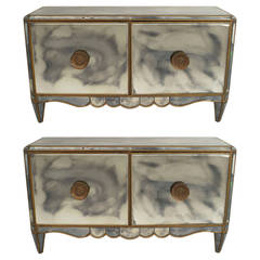 Pair of French Mirrored Commodes