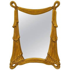 French Art Moderne Carved Giltwood Swag Mirror