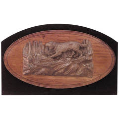 Rustic German Mounted Satinwood Dog Relief