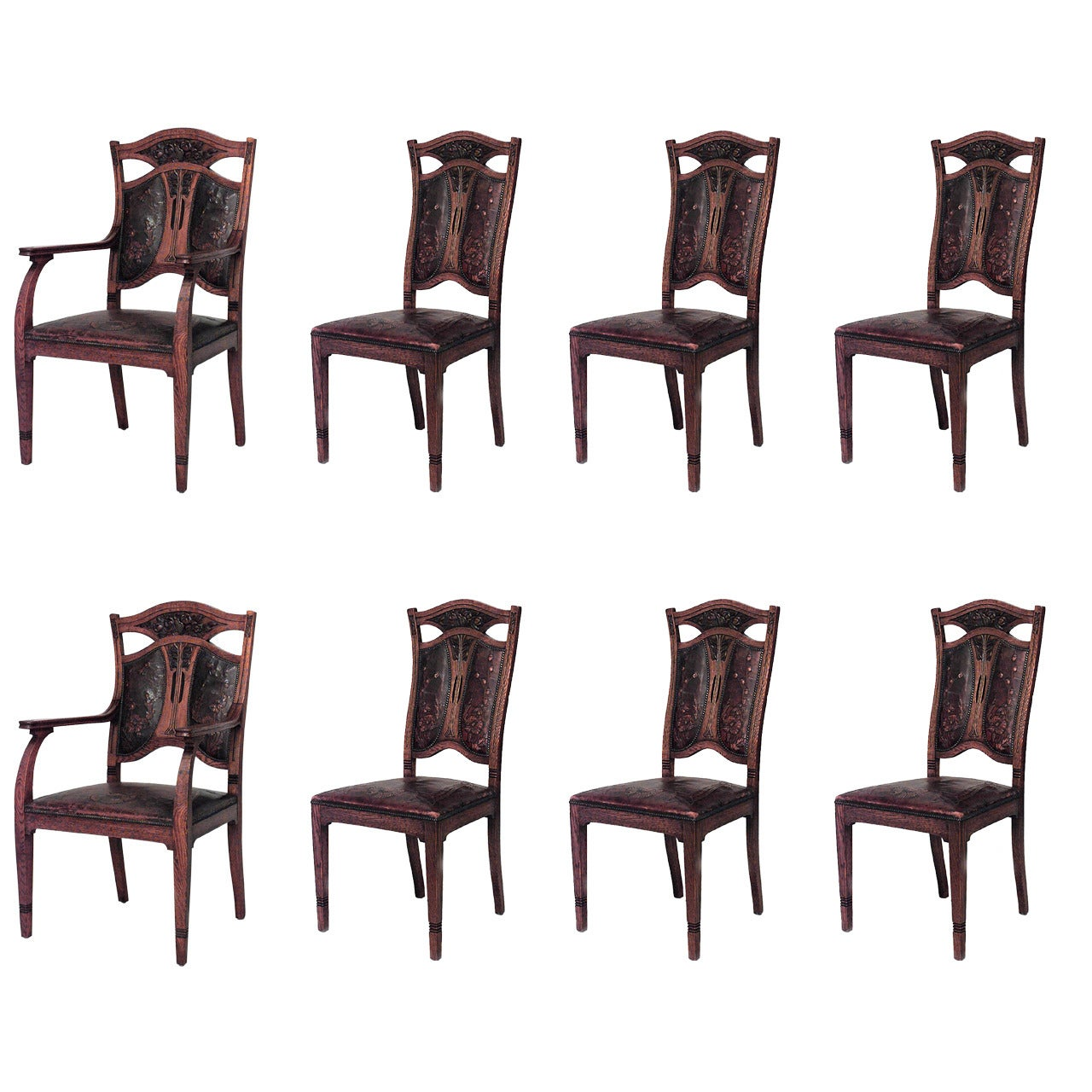Set of 8 Belgian Art Nouveau Leather Chairs