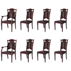 Set of Eight (8) Belgian Art Nouveau Oak & Leather Dining Chairs