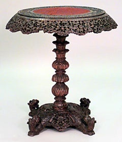 Ornately Carved 19th c. Burmese Walnut End Table