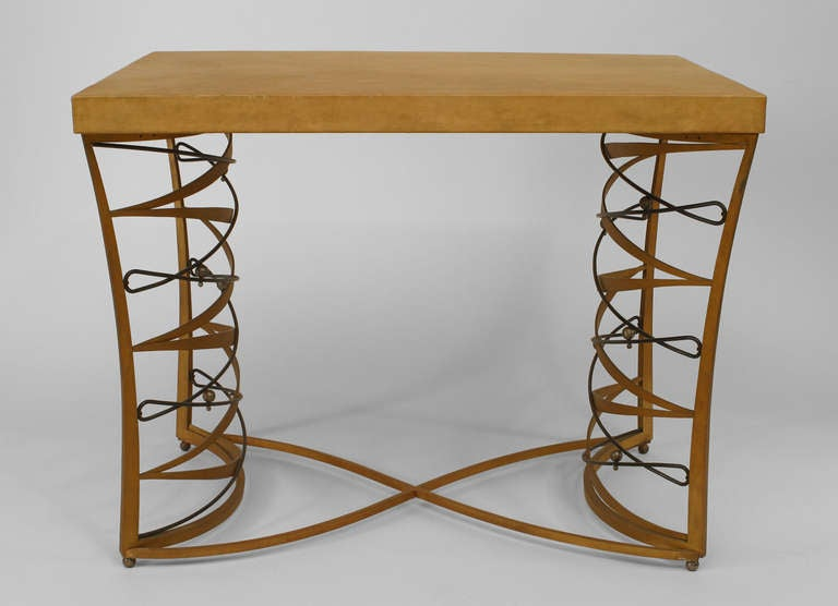 Important and Rare Iron and Parchment Table by Maurice Dufrène, 1935 2