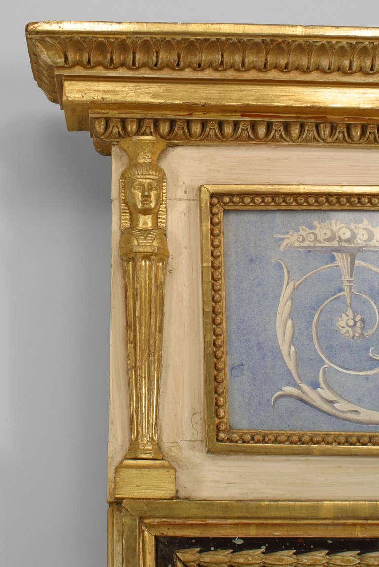 ornate 19th c swedish neoclassic gilt and watercolor