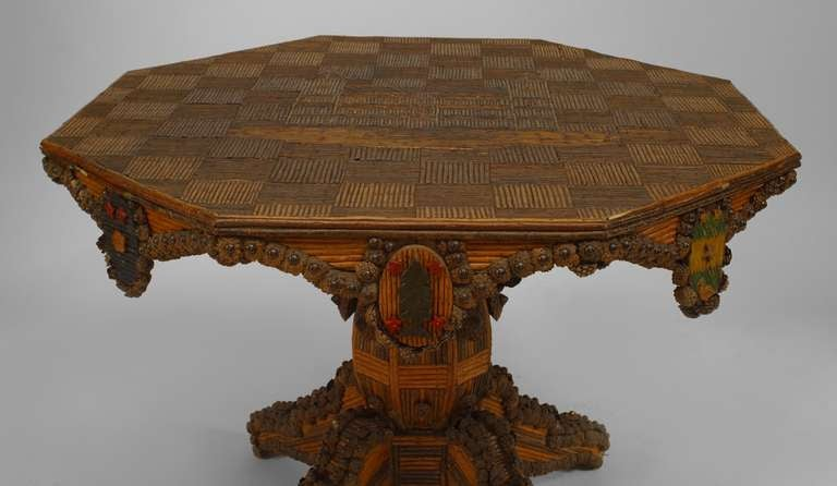 finely ornamented french 19th c rustic center table 2 - Rustic Center