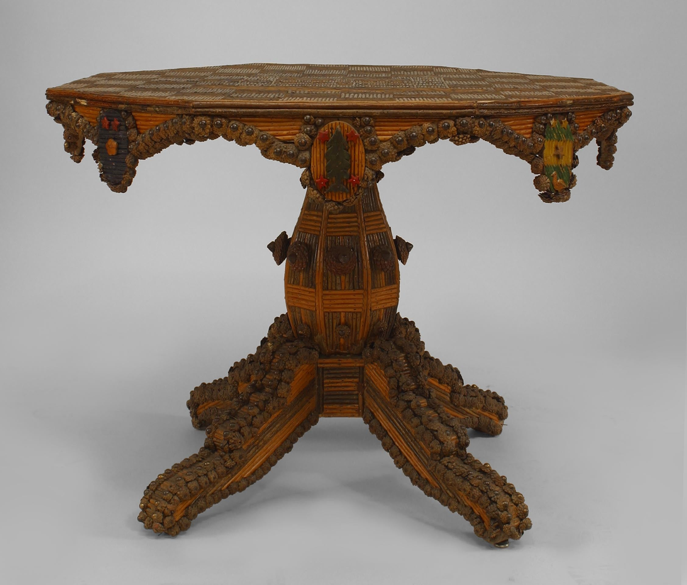 Rustic Continental Twig Medallions Center Table