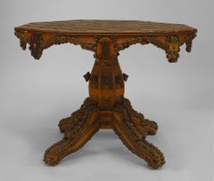 Finely Ornamented French 19th c. Rustic Center Table