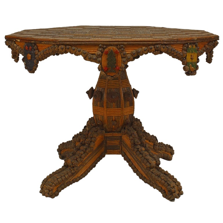 finely ornamented french 19th c rustic center table 1 - Rustic Center