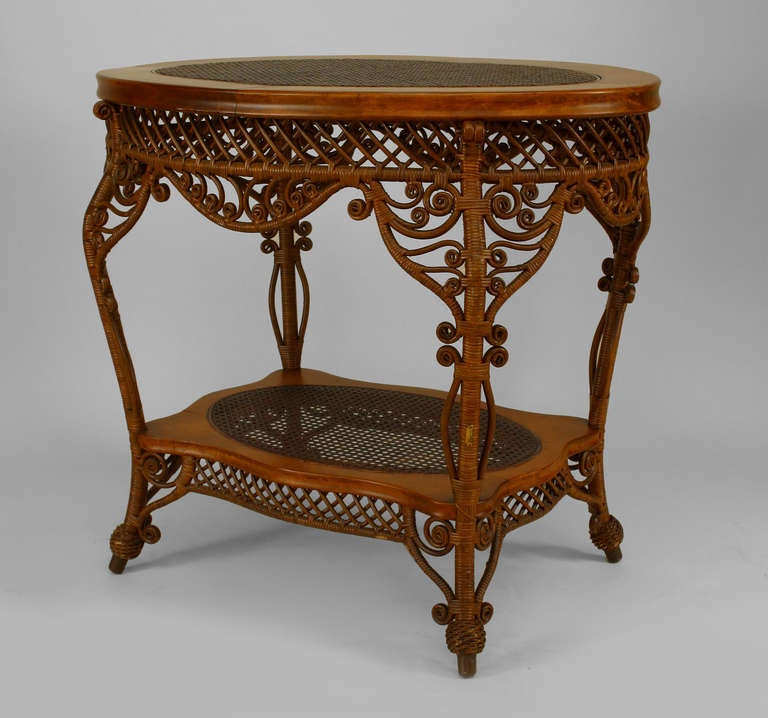 Heywood-Wakefield Filigree Wicker Oval Center Table For ...