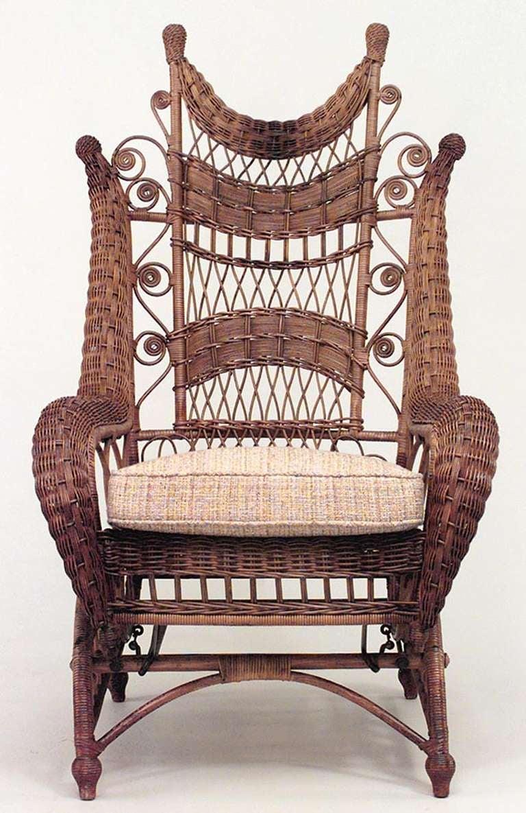 Ornate Wicker Platform Rocking Chair For Sale At 1stdibs