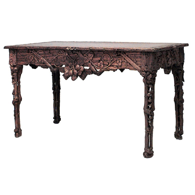 Ornately Carved 19th c. Black Forest Center Table