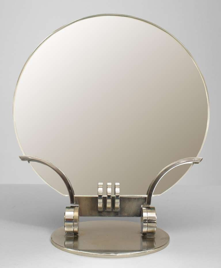 French Art Deco Adjustable Chrome Table Mirror At 1stdibs