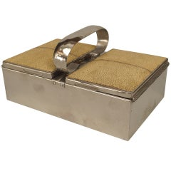 English Art Deco Silver Plate Box with Shagreen Handled Top