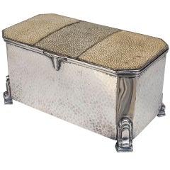 English Art Deco Silver and Tri-Tone Shagreen Box