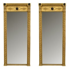 Pair of 19th c. English Regency Gilt and Ebonized Wood Wall Mirrors