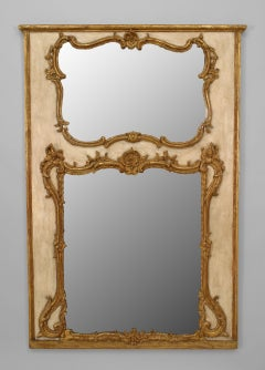 18th c. Italian Rococo Cream and Gilt Trumeau Mirror