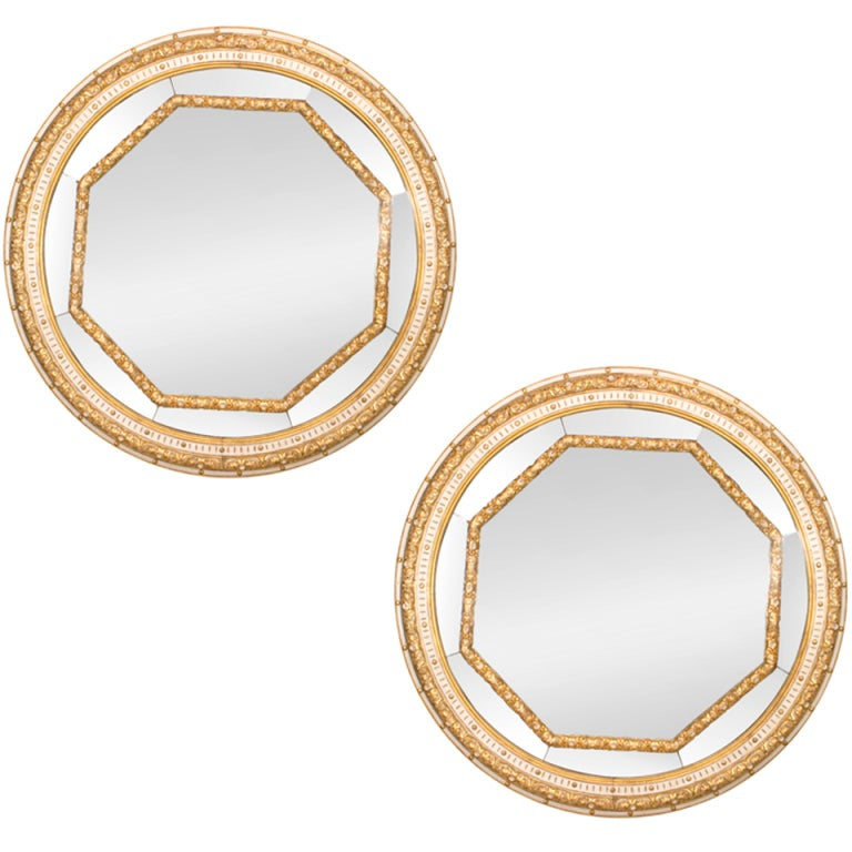 Pair Of Monumental 19th c. Italian Neoclassic Round Gilt Mirrors