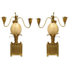 Pair of 1940s French Palm Inspired Ostrich Egg Candelabra