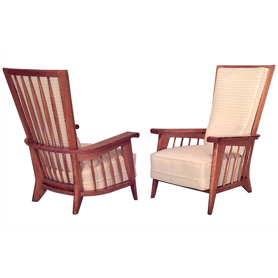 Pair of French Jacques Adnet Oak Upholstered Armchairs