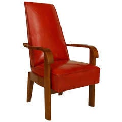 1940's French Red Leather and Oak Armchair Attributed to Charles Dudouyt